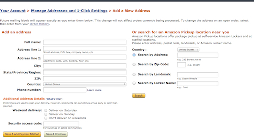 amazon.comの住所記入欄の項目